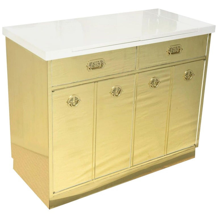 Mastercraft Brass and White Lacquered Wood Dry Bar or Cabinet Vintage For Sale