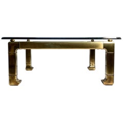 Mastercraft Brass Chinoiserie Glass Coffee Table