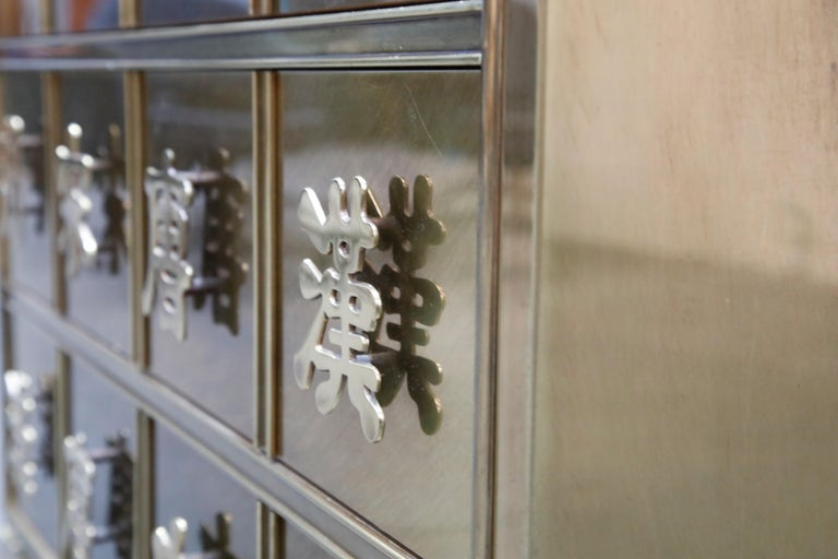 Mastercraft Brass Commode Dresser with Chinese Character Brass Pulls, circa 1970 For Sale 8