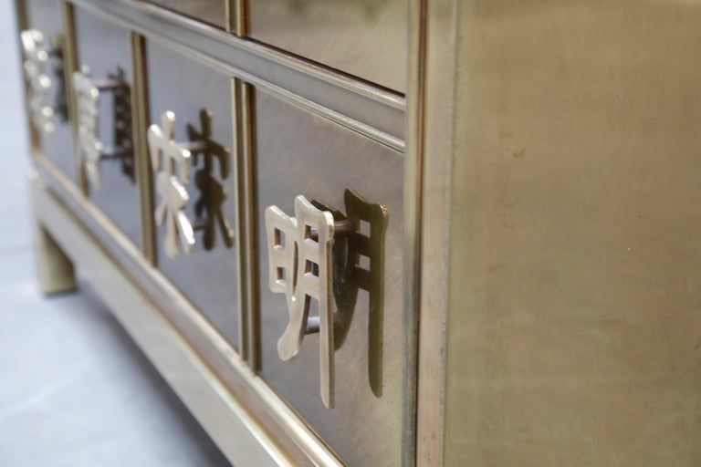 Mastercraft Brass Commode Dresser with Chinese Character Brass Pulls, circa 1970 For Sale 9
