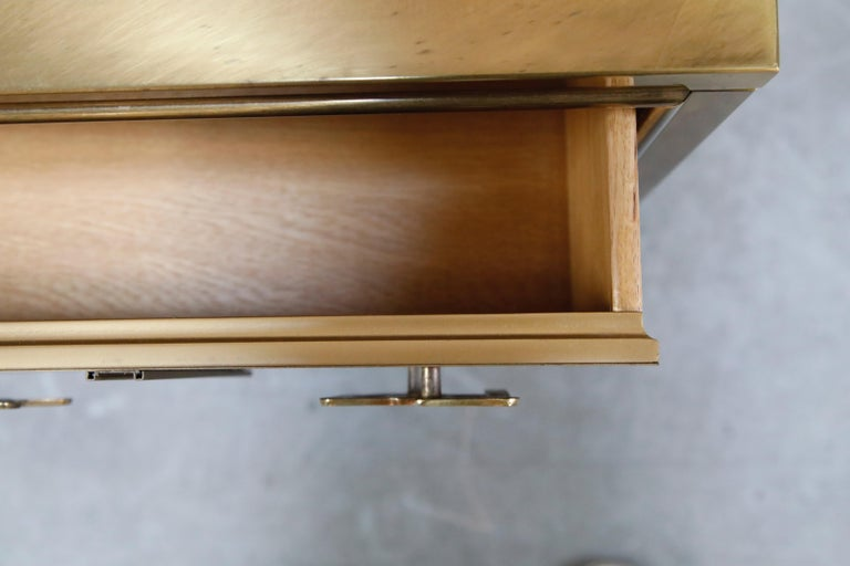 Mastercraft Brass Commode Dresser with Chinese Character Brass Pulls, circa 1970 For Sale 10