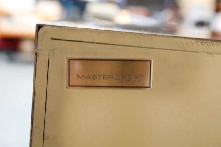 Mastercraft Brass Commode Dresser with Chinese Character Brass Pulls, circa 1970 For Sale 13