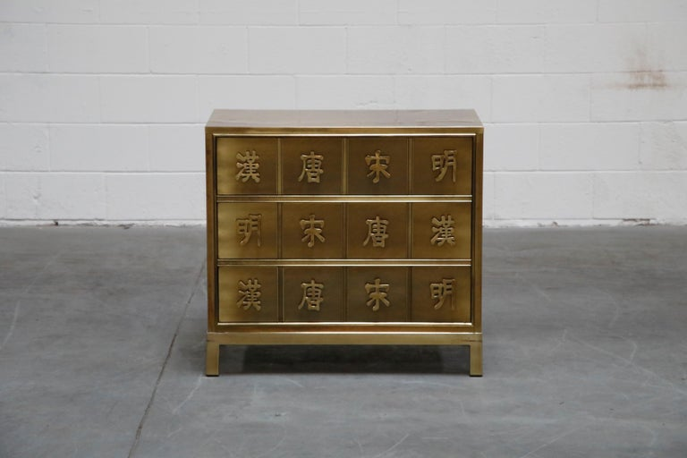 Rare, highly sought after, and of incredible quality, this brass dresser is by Mastercraft, designed and produced in the 1970s and is in excellent well cared for condition. Soft patina to brass is very attractive and is even throughout.   Three