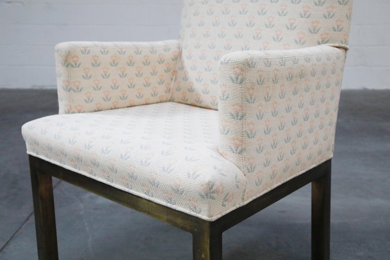 Mastercraft Brass Dining Armchairs with Grandma Fabric, Set of Four, circa 1970s For Sale 4