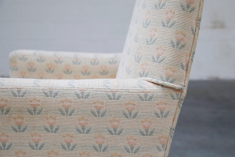 Mastercraft Brass Dining Armchairs with Grandma Fabric, Set of Four, circa 1970s For Sale 7