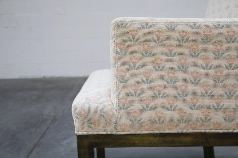 Mastercraft Brass Dining Armchairs with Grandma Fabric, Set of Four, circa 1970s For Sale 8