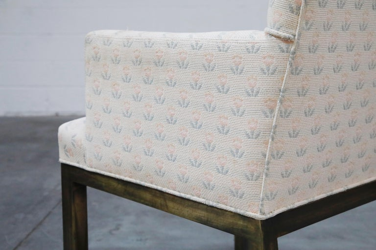 Mastercraft Brass Dining Armchairs with Grandma Fabric, Set of Four, circa 1970s For Sale 11