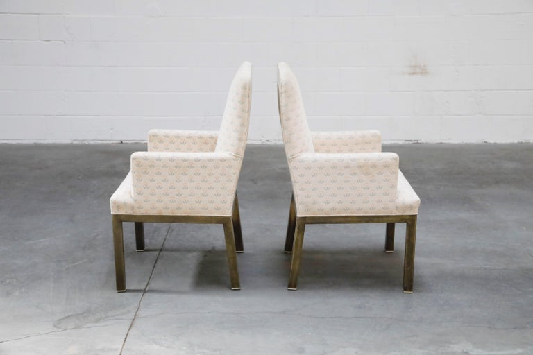 Modern Mastercraft Brass Dining Armchairs with Grandma Fabric, Set of Four, circa 1970s For Sale