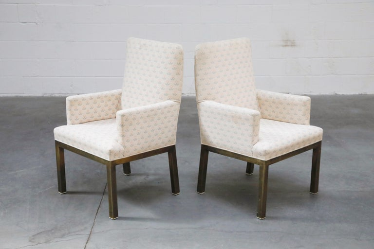 American Mastercraft Brass Dining Armchairs with Grandma Fabric, Set of Four, circa 1970s For Sale