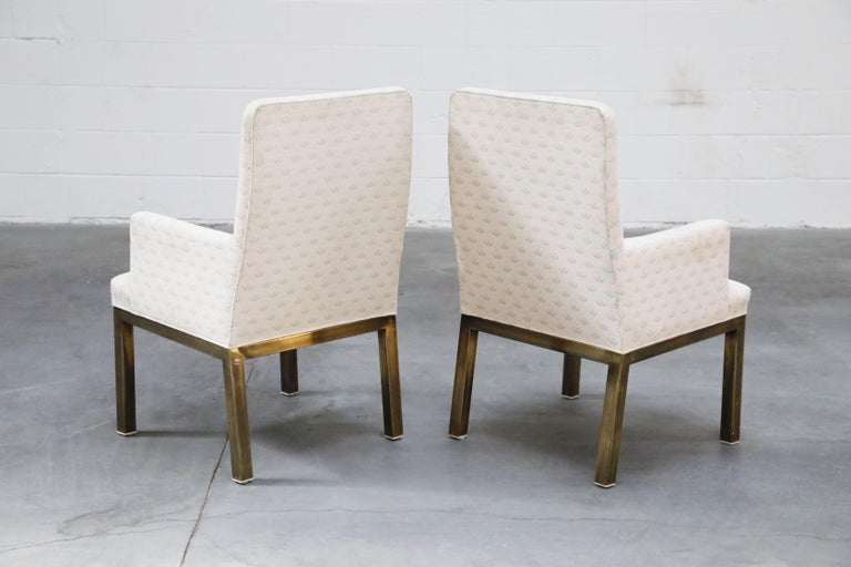 Mastercraft Brass Dining Armchairs with Grandma Fabric, Set of Four, circa 1970s In Good Condition For Sale In Los Angeles, CA