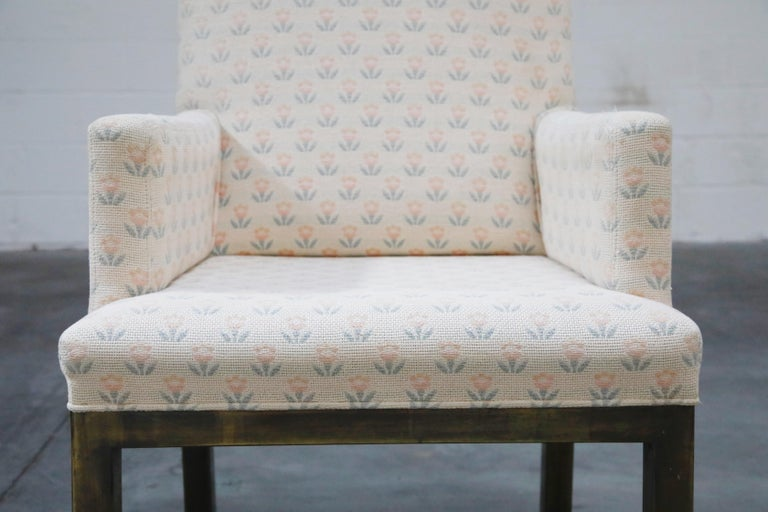 Mastercraft Brass Dining Armchairs with Grandma Fabric, Set of Four, circa 1970s For Sale 1