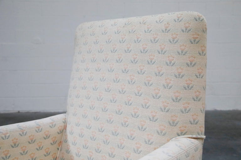 Mastercraft Brass Dining Armchairs with Grandma Fabric, Set of Four, circa 1970s For Sale 3