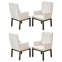 Mastercraft Brass Dining Armchairs with Grandma Fabric, Set of Four, circa 1970s