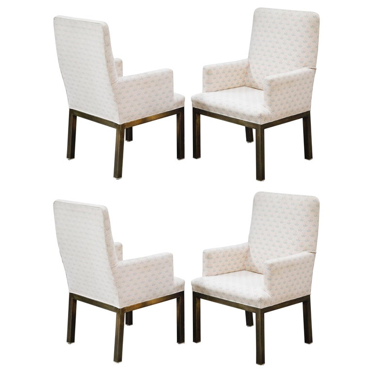 Mastercraft Brass Dining Armchairs with Grandma Fabric, Set of Four, circa 1970s For Sale