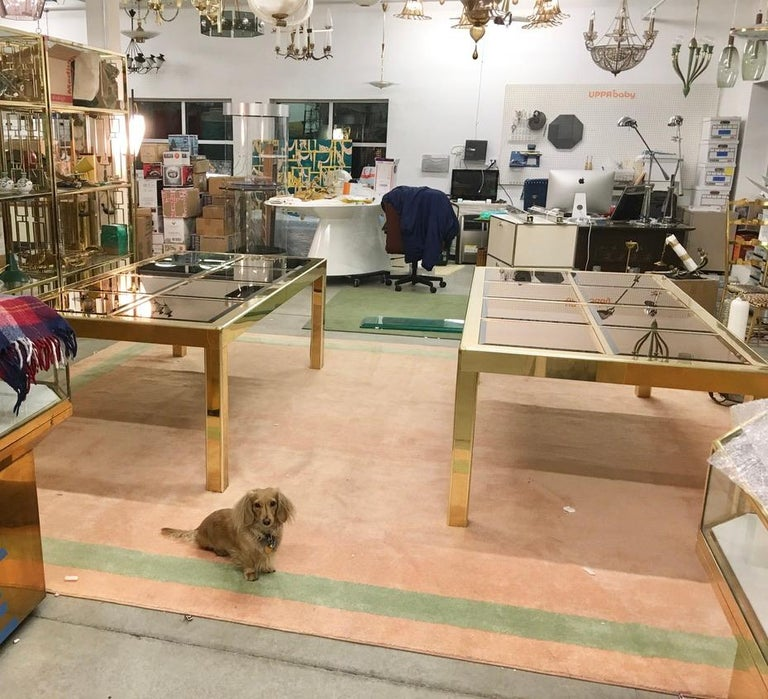 Mastercraft Brass Dining Table with Bronze Mirror Panel Top In Good Condition For Sale In Hingham, MA