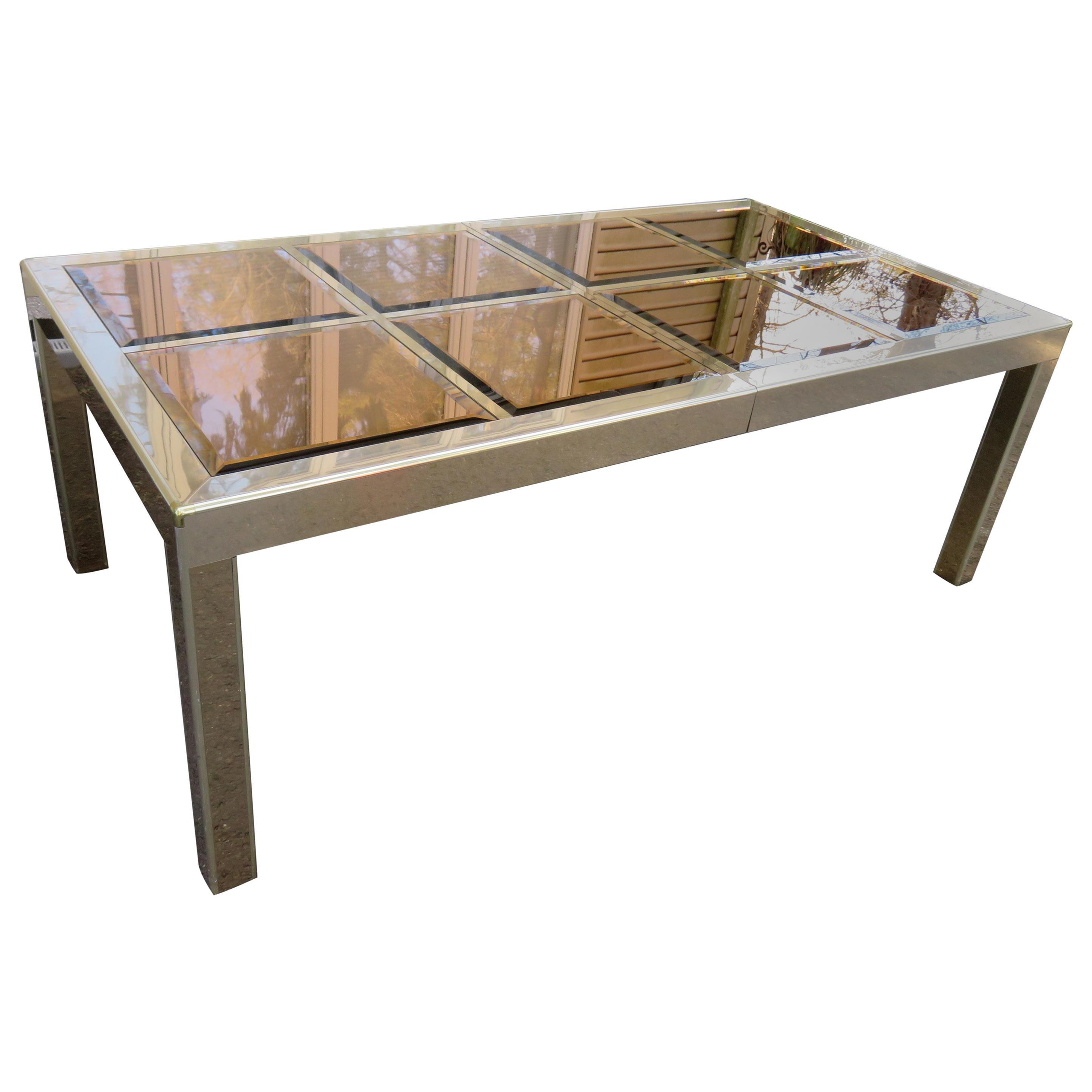 Mastercraft Brass Dining Table with Bronze Mirror Top Mid-Century Modern
