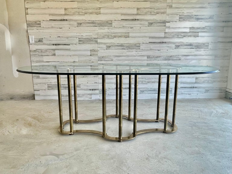 Mastercraft Brass Faux Bamboo Dining Table In Good Condition For Sale In Denton, TX