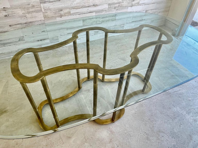 20th Century Mastercraft Brass Faux Bamboo Dining Table For Sale