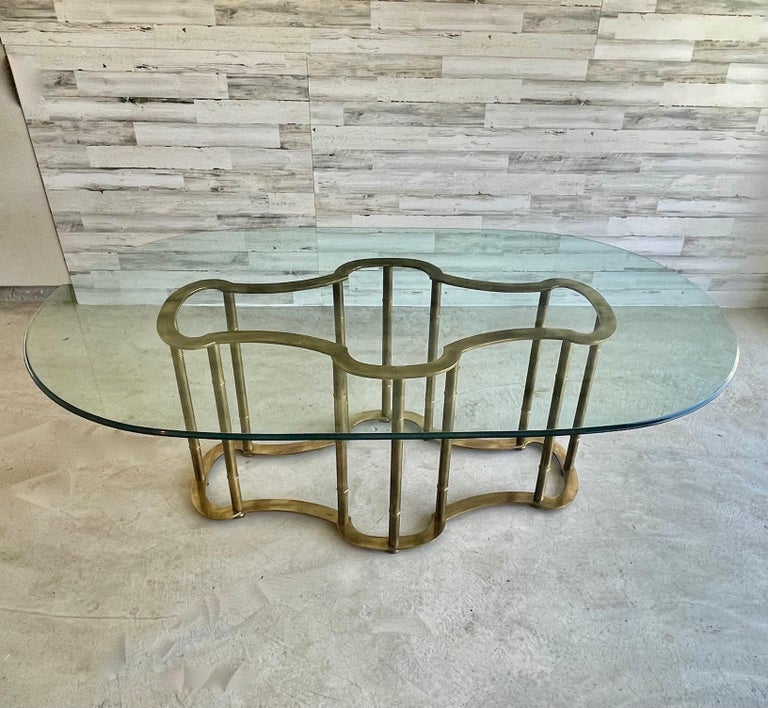 Mastercraft Brass Faux Bamboo Dining Table For Sale 3