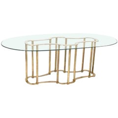Mastercraft Brass Faux Bamboo Hollywood Regency Dining Table, circa 1970
