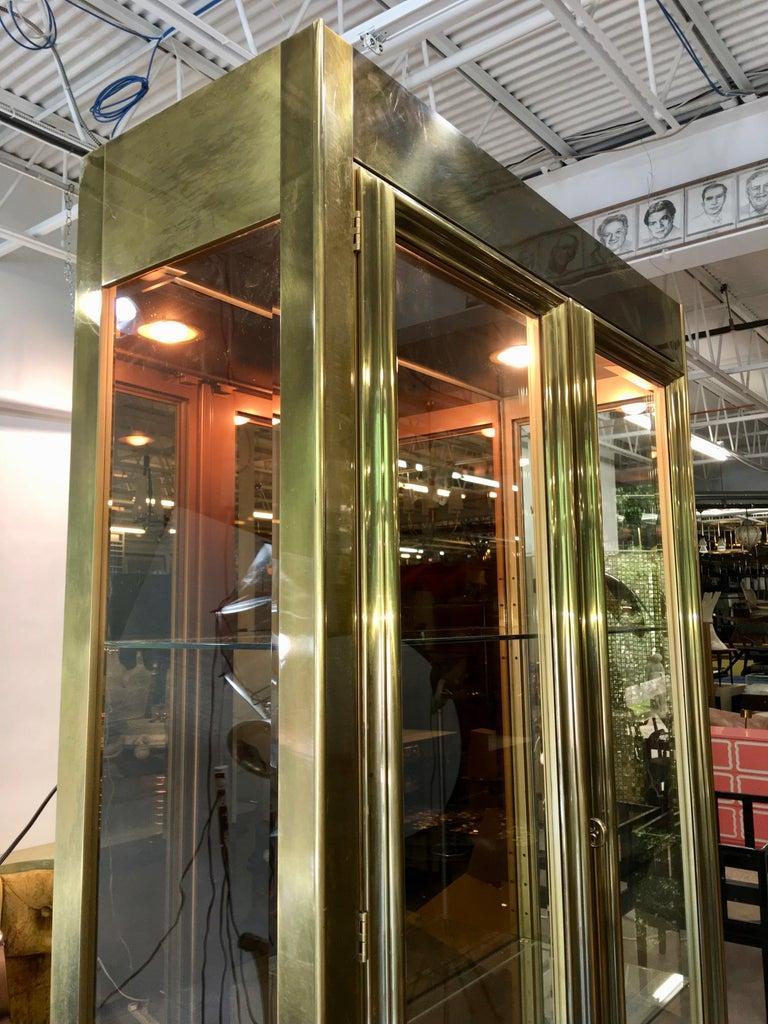 Late 20th Century Mastercraft Brass & Glass Vitrine For Sale