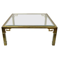 """Mastercraft Brass Greek Key Glass Top Large Square 42"""" Coffee Cocktail Table"""
