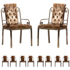 Mastercraft Brass Greek Key Hollywood Regency Dining Chairs Set of 10