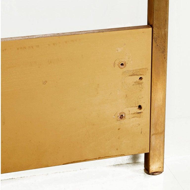 Mastercraft Hollywood Regency Greek Key Style Brass Queen Headboard Bed For Sale 1