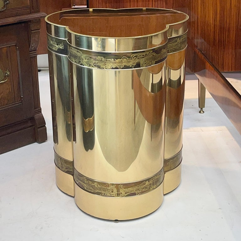 Late 20th Century Mastercraft Brass Trefoil Table by Bernhard Rohne For Sale