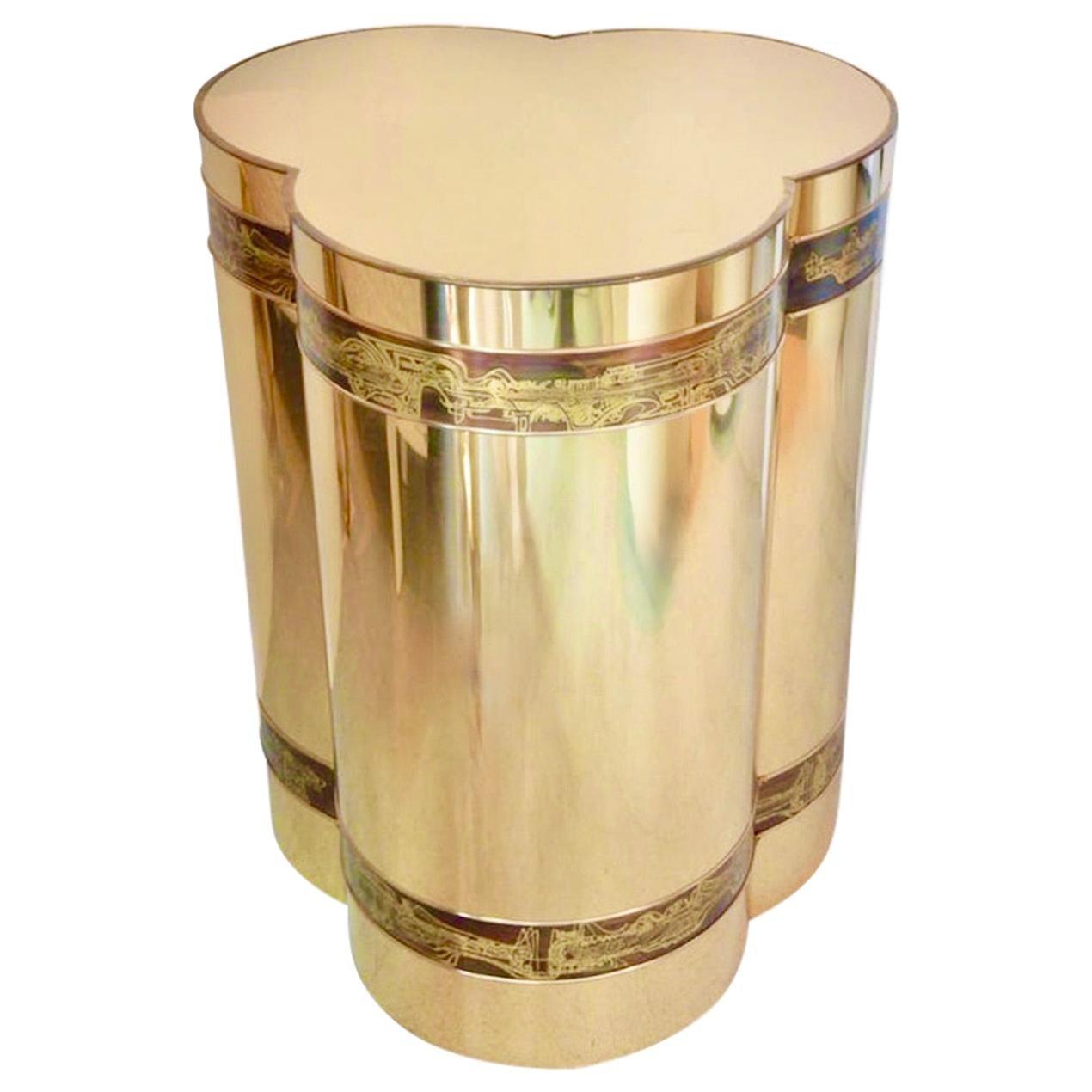 Mastercraft Brass Trefoil Table by Bernhard Rohne