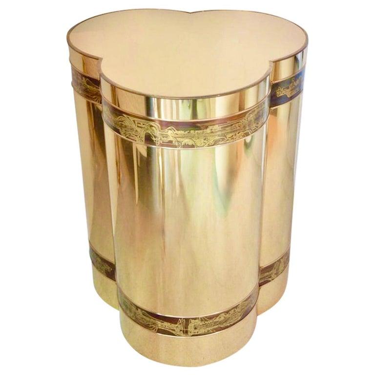 Mastercraft Brass Trefoil Table by Bernhard Rohne For Sale
