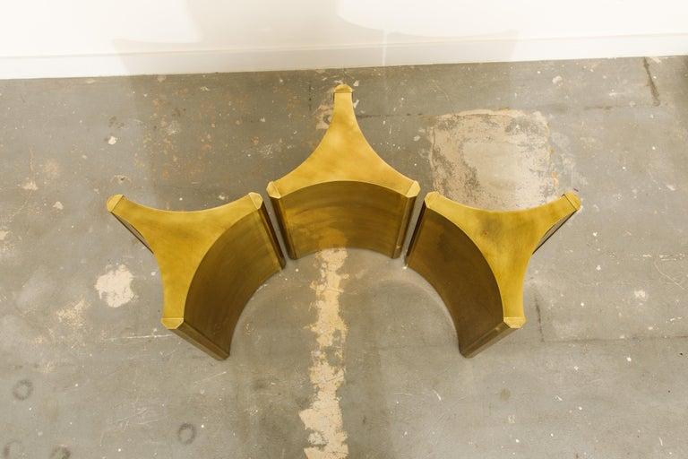 Mastercraft Brass 'Trilobi' Triangular Dining Table or Desk Bases, circa 1970 5