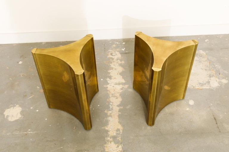 Mastercraft Brass 'Trilobi' Triangular Dining Table or Desk Bases, circa 1970 In Good Condition In Los Angeles, CA