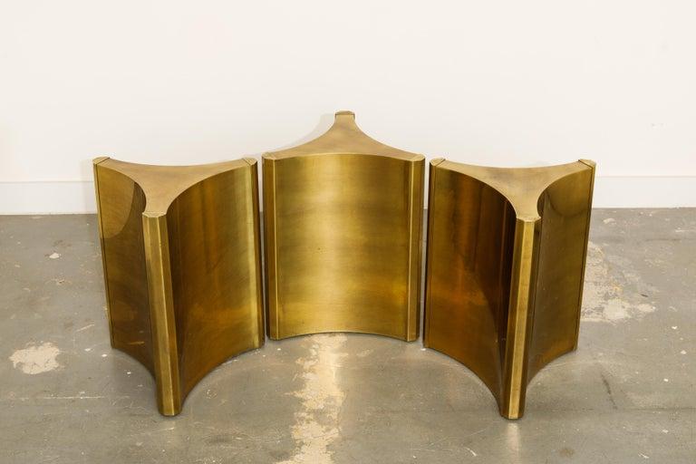 Mastercraft Brass 'Trilobi' Triangular Dining Table or Desk Bases, circa 1970 3