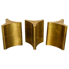 Mastercraft Brass 'Trilobi' Triangular Dining Table or Desk Bases, circa 1970