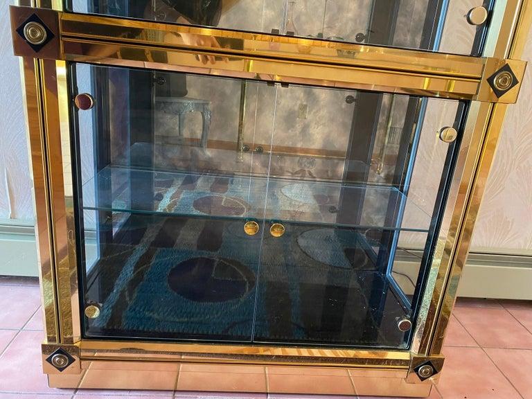 Late 20th Century Mastercraft Brass Vitrine For Sale