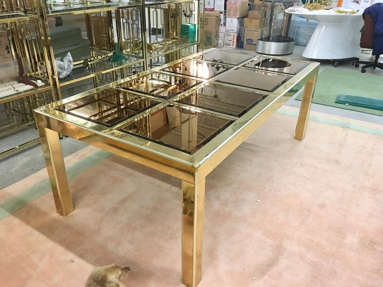 Mid-Century Modern Mastercraft Bronze Mirror and Brass Dining Table For Sale