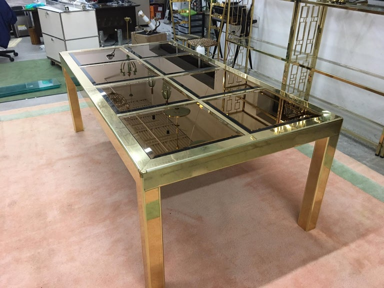 American Mastercraft Bronze Mirror and Brass Dining Table For Sale