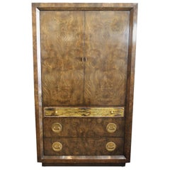 Mastercraft Burl and Brass Wardrobe Cabinet