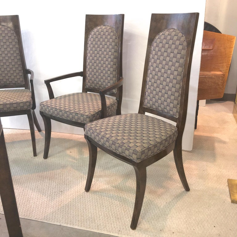 Mastercraft Burl and Brass Extendable Dining Table and Six Chairs For Sale 3