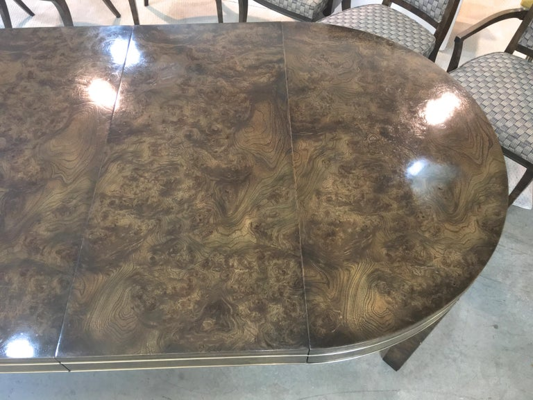 Mastercraft Burl and Brass Extendable Dining Table and Six Chairs For Sale 5
