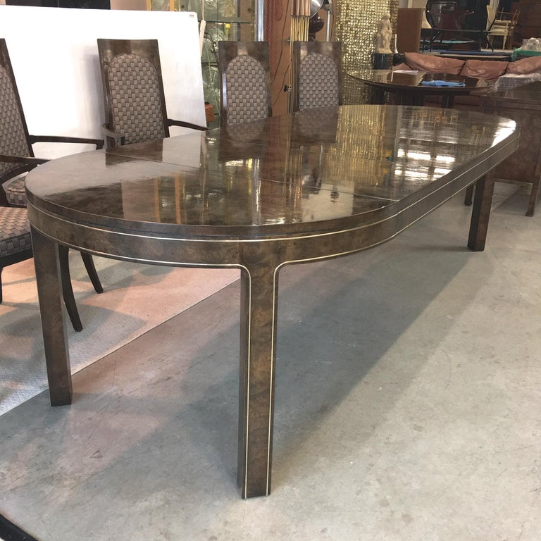 Mastercraft Burl and Brass Extendable Dining Table and Six Chairs For Sale 6