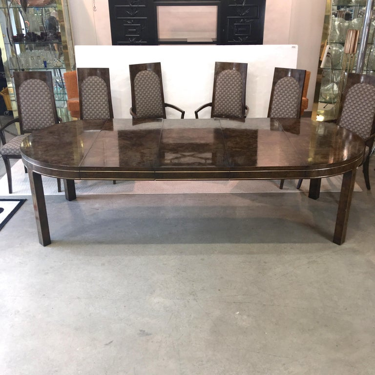 Mastercraft Burl and Brass Extendable Dining Table and Six Chairs For Sale 7
