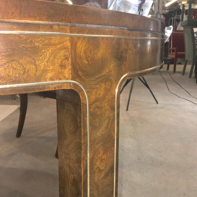 Mastercraft Burl and Brass Extendable Dining Table and Six Chairs For Sale 8