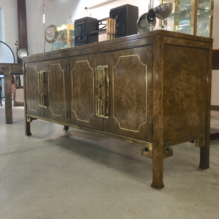 Mastercraft Burl and Brass Extendable Dining Table and Six Chairs For Sale 10