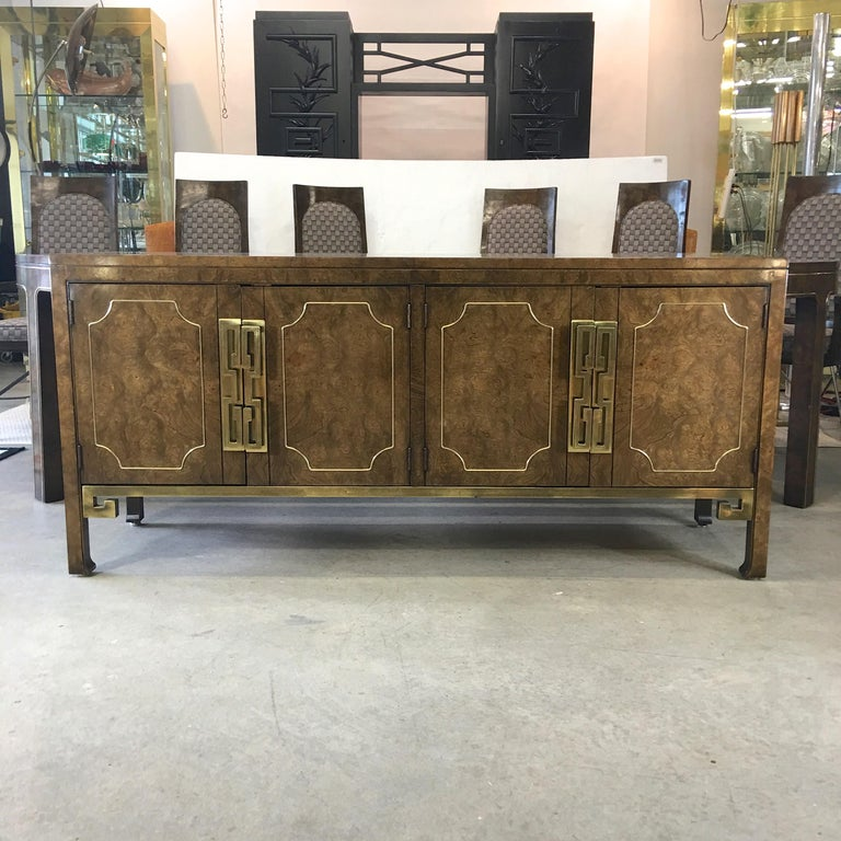 Mastercraft Burl and Brass Extendable Dining Table and Six Chairs For Sale 11
