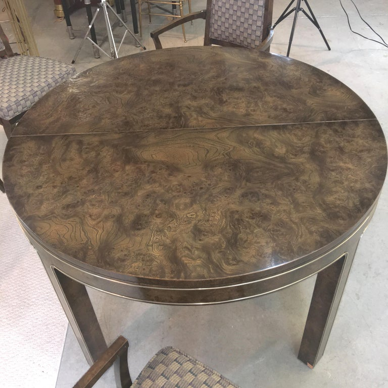 American Mastercraft Burl and Brass Extendable Dining Table and Six Chairs For Sale