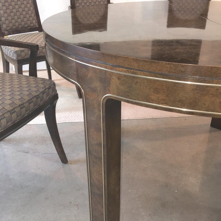 Mastercraft Burl and Brass Extendable Dining Table and Six Chairs In Good Condition For Sale In Hingham, MA
