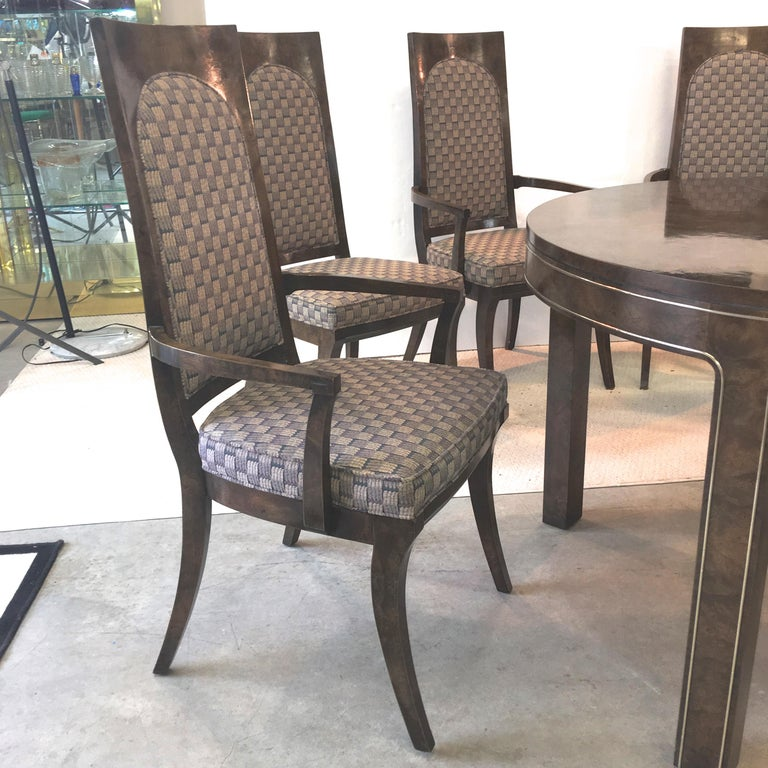 Mid-20th Century Mastercraft Burl and Brass Extendable Dining Table and Six Chairs For Sale