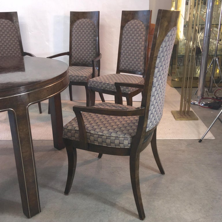 Mastercraft Burl and Brass Extendable Dining Table and Six Chairs For Sale 1